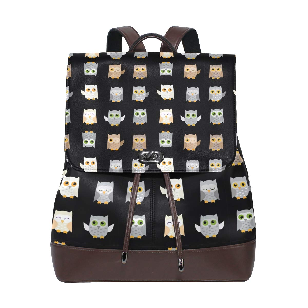 Leather Owl Backpack Daypack Bag Women