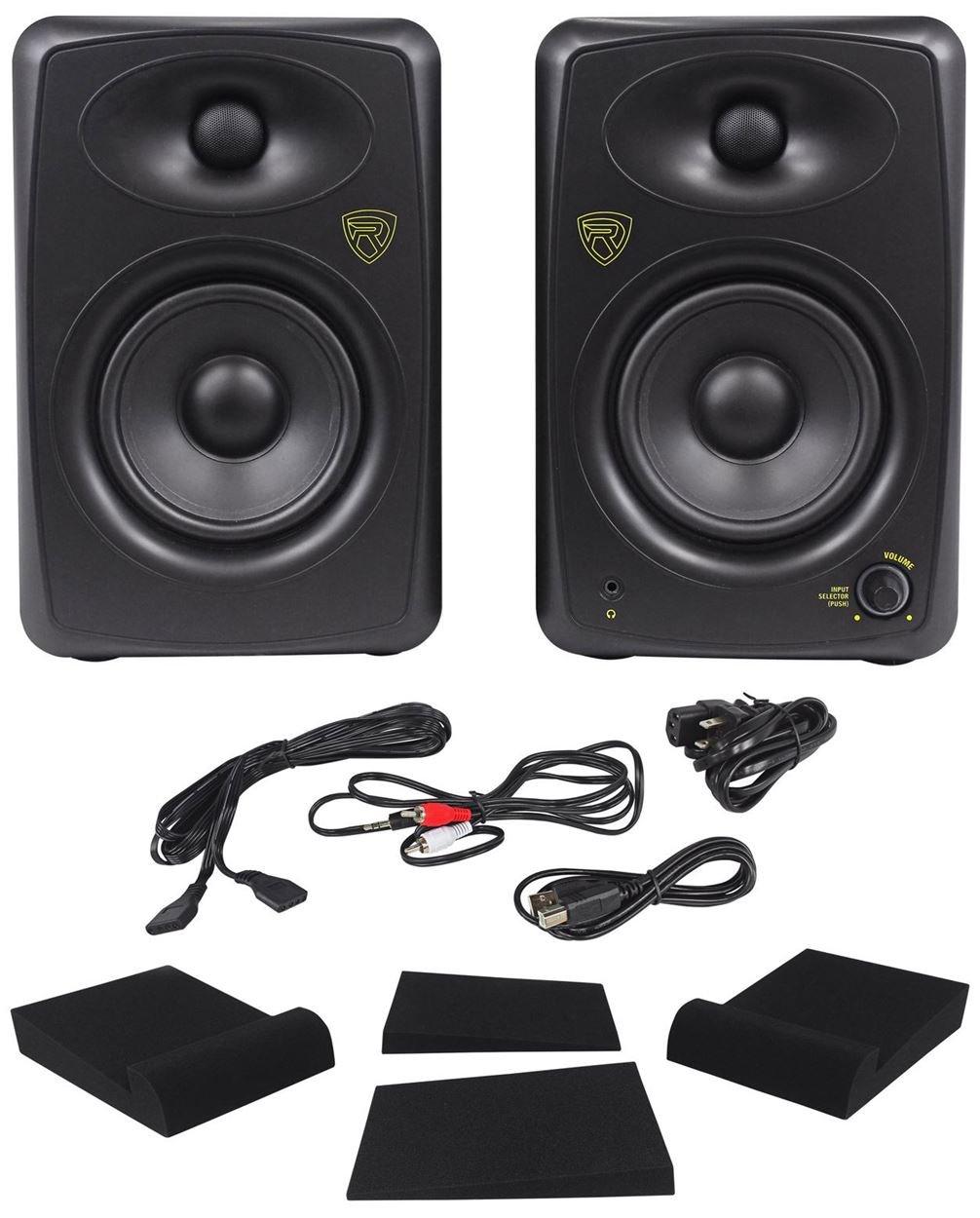 Package: Rockville ASM5 5'' 2-Way 200 Watt Peak/100 Watt RMS Active/Powered Pair of Pro Studio Monitors With Dual Class ''D'' Amp In Each Speaker + Studio Monitor Isolation Pads