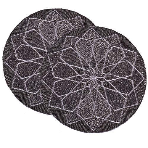 Decozen Embroidered Beaded Lurex Placemat 14