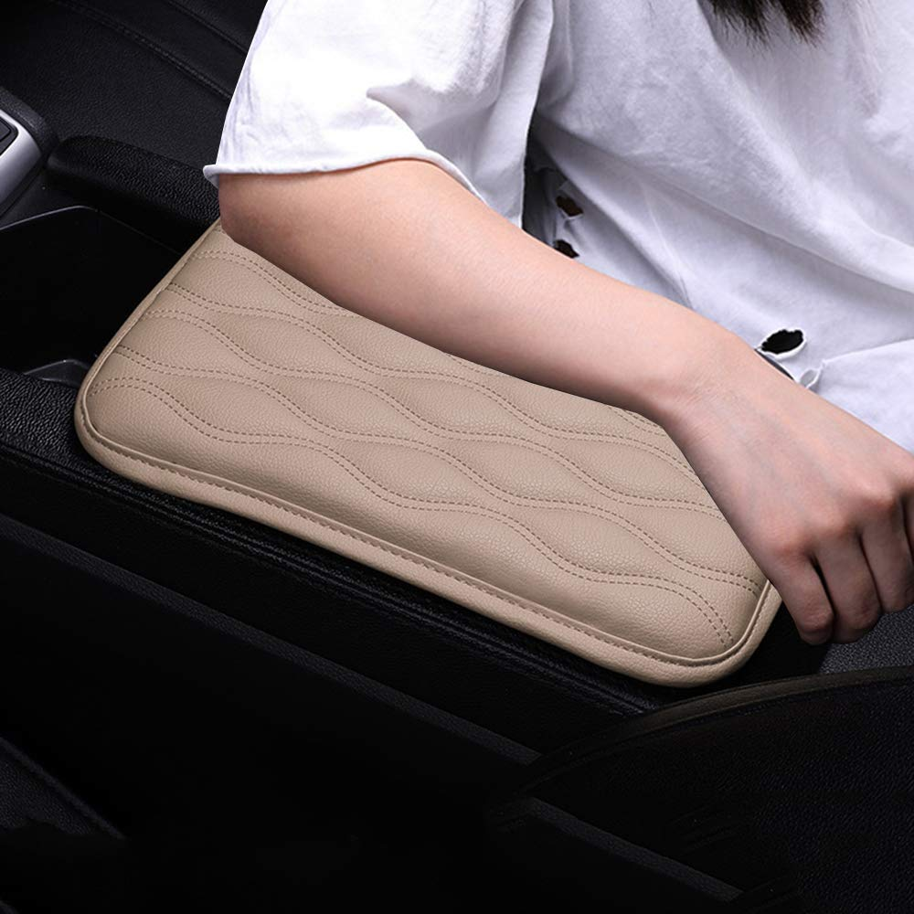Alusbell Auto Center Console Pad, Car Armrest Seat Box Cover Protector Universal Fit (C-Beige)