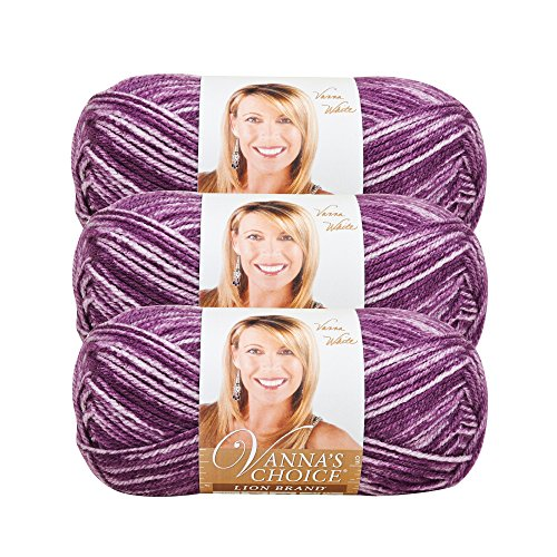 (3 Pack) Lion Brand Yarn 860-303I Vanna's Choice Yarn, Purple Mist