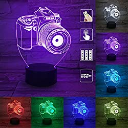PRY-OOO 3D Illusion Lamp Camera Night Light for Kids Toy Toddlers Illusion Birthday Gift LED Desk Table Lamp Optical Effect Lights Remote Control Touch Home Decor Holiday Birthday