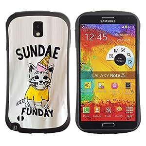 """Hypernova Slim Fit Dual Barniz Protector Caso Case Funda Para Samsung Note 3 [Sundae Fun Day Domingo Gatito del helado""""]"""