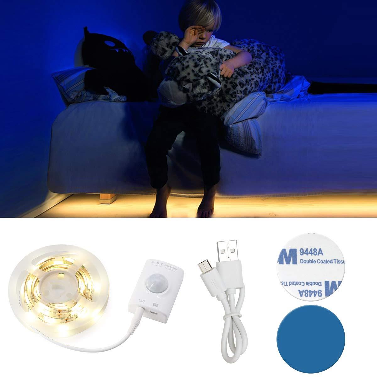 Lumière de Lit VDROL Bande LED Sensor de Mouvement Éclairage Lumière qui s\'Allume et s\'Éteint Automatiquement Idéal pour le Chevet, la Chambre à Coucher, Sous la Crèche, placard, Armoire, Plateau