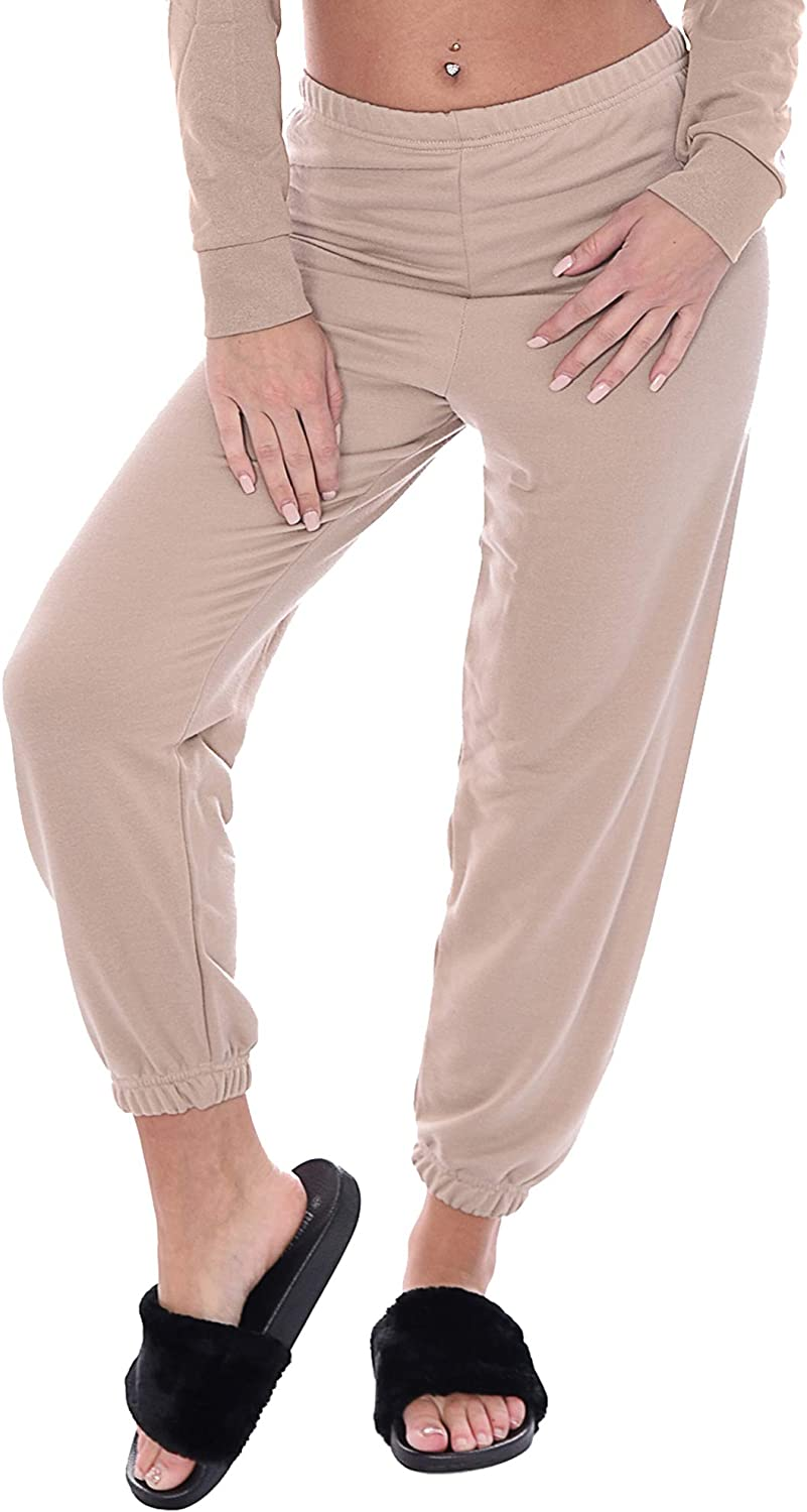 New Womens Ladies Cotton Cuffed Bottoms Lounge Wear Gym Track Pants Trousers