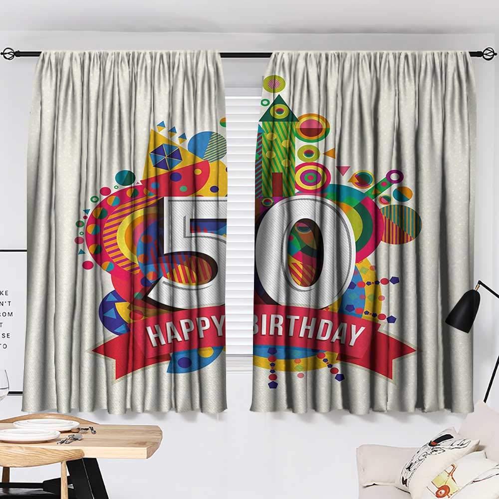 Jinguizi 50th Birthday Curtain Door Panel Cartoon Style Colorful Pop Poster Like Celebration Label Festive Design Print décor Darkening Curtains Multicolor W55 x L39 by Jinguizi (Image #2)