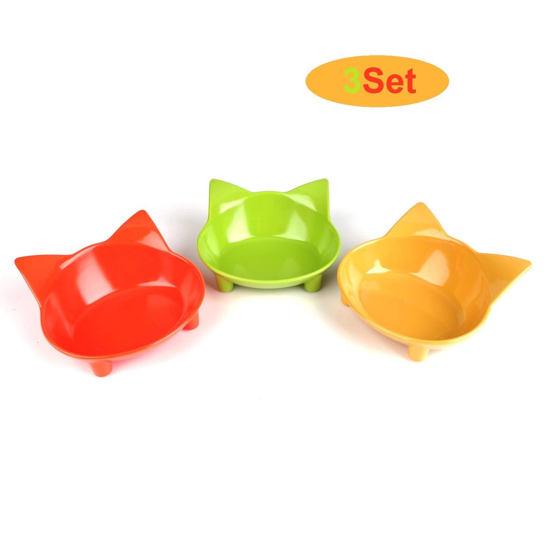 cGy Cat Bowls,Cat Food Bowls,New Cat Pet Bowls Pet Supplies,Non Slip Cat Feeding Bowls,Cat Water Bowls Yellow/Green/Orange