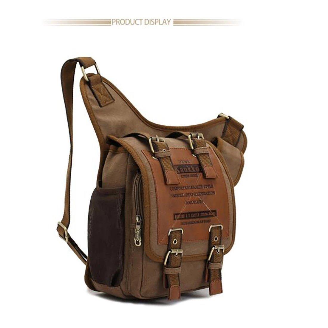 Koola's Bag Sac à l'Epaule Homme Style Rétro en Toile Fashion Sac Vintage Chevalier Sac Messager Noir Brun JDNz2FwVm