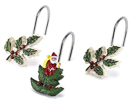 Image Unavailable Not Available For Color Holly Christmas Shower Curtain Hooks