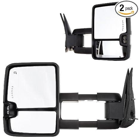 Telescoping Mirror Power+Heated+Smoke Tow Mirrors For 99-02 Chevrolet Silverado