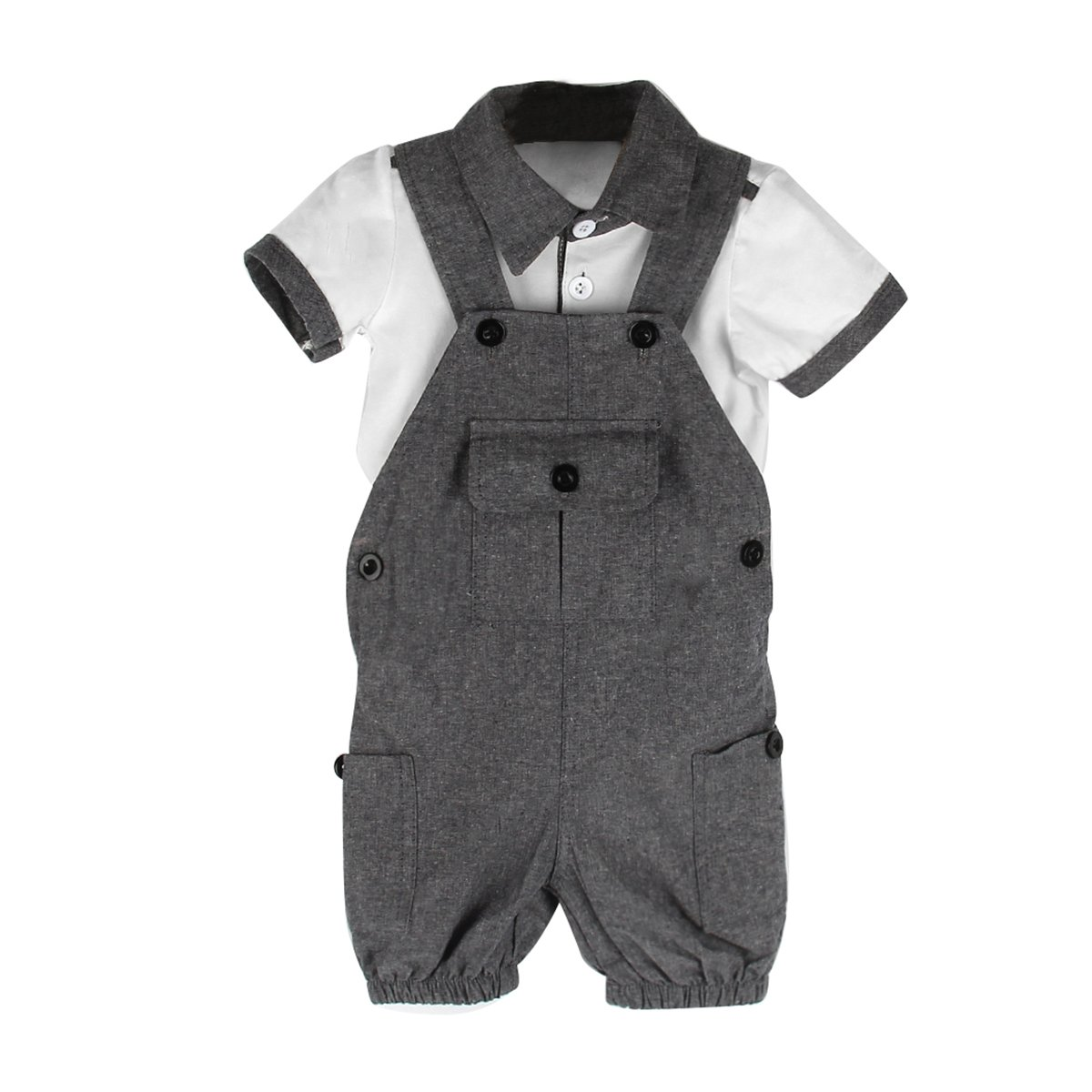 Puseky Baby Boy Gril Short Sleeve Shirt+ Suspender Trousers Overalls Clothes Set (18-24 Months, Grey+White)