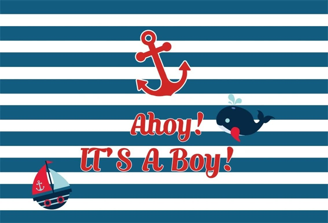 CSFOTO 5x3ft Nautical Theme Baby Shower Backdrop Cartoon Whale Boat Anchor Blue White Striped Baby Shower Background for Photography Kids Newborn Baby Shower Banner Polyester Background