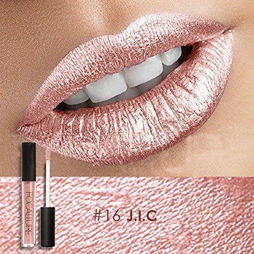 FOCALLURE Metal Lipgloss Lip Gloss Long Lasting Waterproof Lipstick Makeup Cosmetic 12 Types(#16)