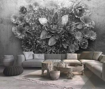 3d Wallpaper Tv Wall Decor Stickerr Relief Black And White Flowers Cement Wall Modern Wall Paper Wall Stickers For Bedroom Decor Amazon Com