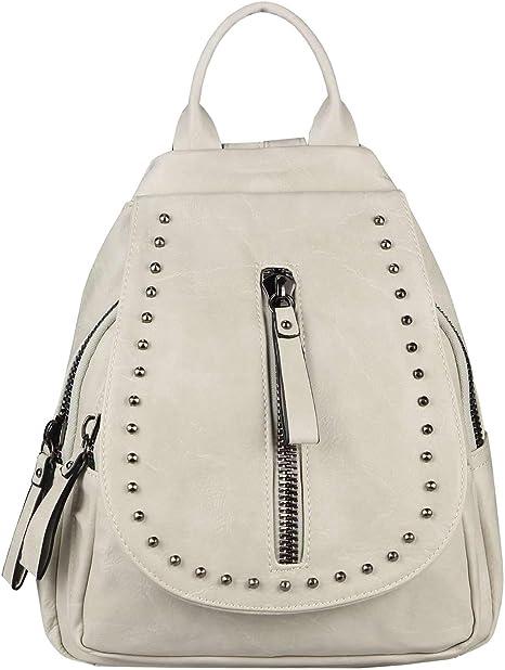Obc Damen Rucksack Backpack Cityrucksack Schultertasche Leder Optik Tasche Daypack Handtasche Umhangetasche Nieten Beige 30x32x15 Cm Amazon De Koffer Rucksacke Taschen