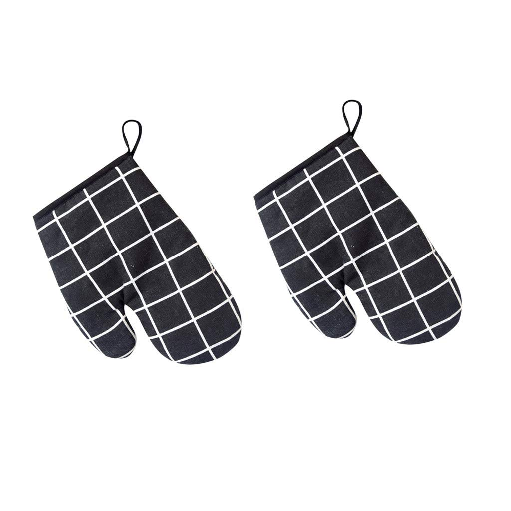 Elevin(TM) Kitchen Cooking Cotton Microwave Oven Gloves Mitts Pot Pad Heat Proof Protected (Black)