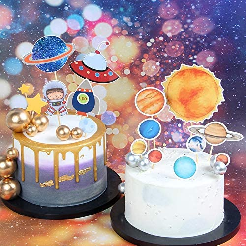 Stupendous Amazon Com Chris W 32Pcs Outer Space Cake Toppers Astronaut Personalised Birthday Cards Sponlily Jamesorg