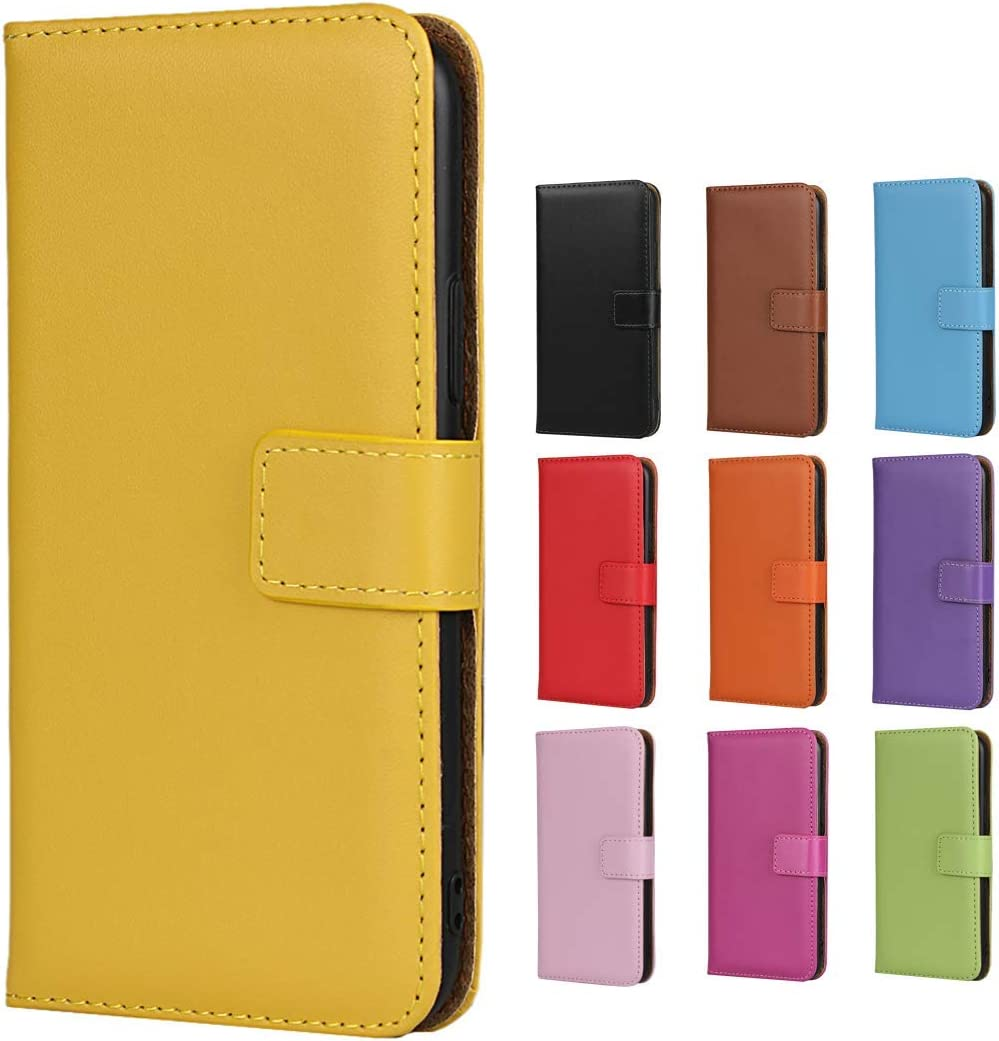 Jaorty iPhone 5/5s/SE Case,Genuine Leather Premium Leather Folio Wallet Case Flip Cover Case Kickstand Feature & Magnetic Closure & Card Slots/Cash Compartment iPhone 5/5s/SE,Yellow