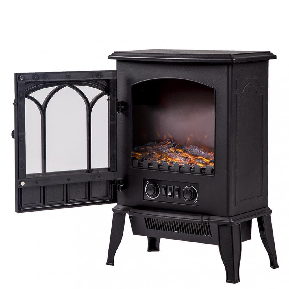 PayLessHere 750W/1500W Standing Electric Fireplace Heat Log Flame Stove Portable
