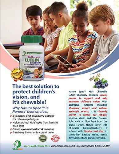Nature Spec Kids Chewable Lutein Premium Blueberry Flavor Taurine Vitamin Zinc Eyebright Extract Lycium Extract Kid's Eye Health,Vitamin Chewbale Eye Health Kid Lutein by Nature Spec (Image #5)