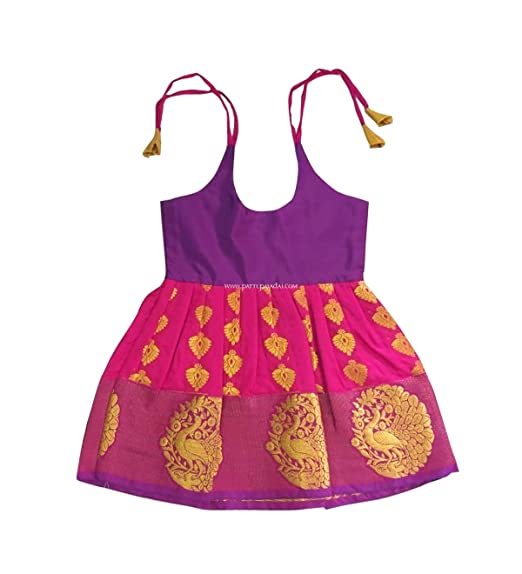 e36f644f8 Pattu Pavadai Pure Silk Frock Pink and Violet for Baby Girls and ...