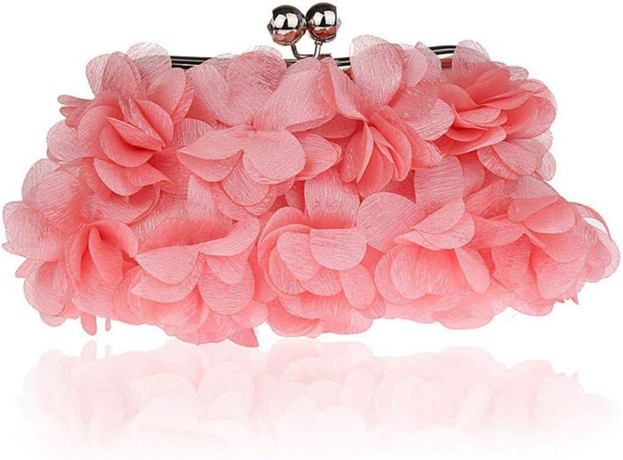 Pochette e Clutch da Donna Sacchetto cosmetico di Banchetto delle frizioni delle Donne di Sera delle Borse di Sera del Fiore di Seta della Signora (Color : Gray) Pink