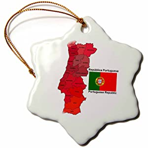 3dRose orn_110023_1 Flag and Map of Portugal with All The Districts Identified by Name-Snowflake Ornament, Porcelain, 3-Inch