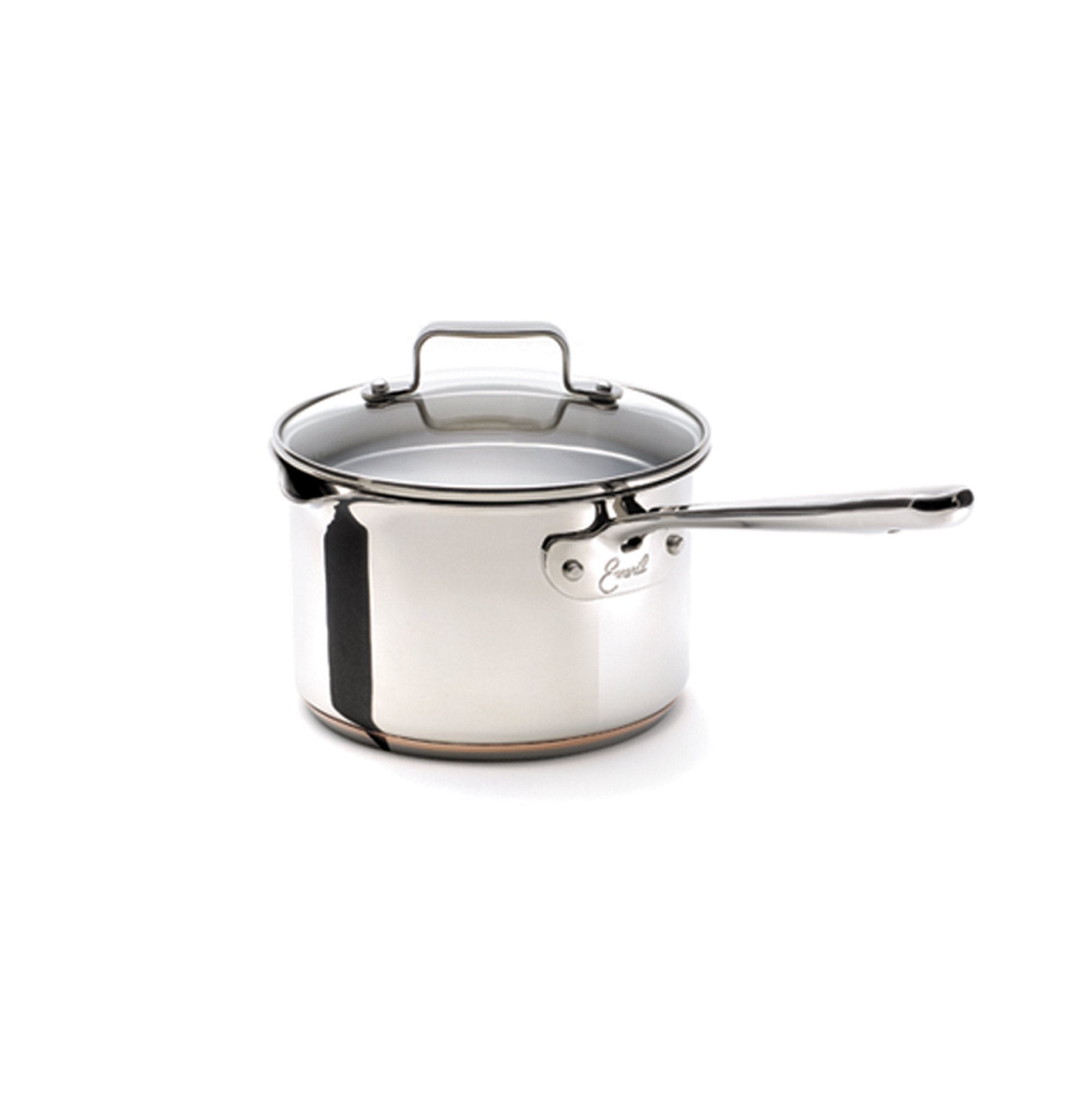 Emeril Stainless Steel with Copper Dishwasher Safe Sauce Pan with Pour Spouts and Lid Cookware, 3-Quart, Silver