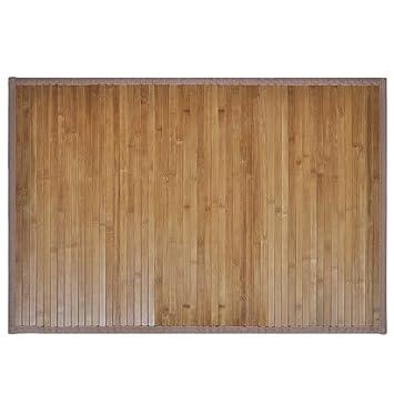 Vidaxl Tapis De Bain Salle De Bains En Bambou Antiderapant 60 X 90 Cm Marron