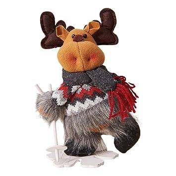 BHYDRY Navidad Papá Noel Muñeco de Nieve Elk Ski Doll Juguetes Árbol de Navidad Ornamento Colgante Regalos: Amazon.es: Hogar