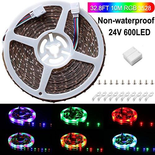SPARKE LED Strip Lights Non-Waterproof 32.8 Ft (10M) 600leds 60leds/m Flexible Color Changing RGB 24V SMD3528 LED Tape Light for Home Kitchen Car Bar Party Ceiling Indoor