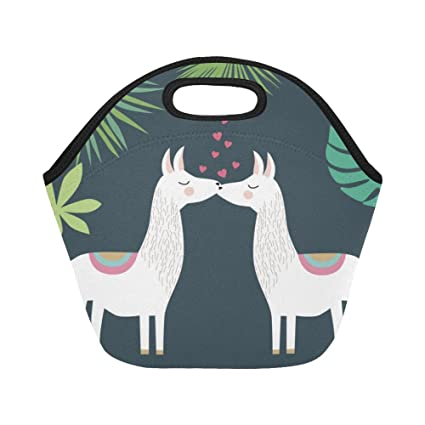 12a23ef406d9 InterestPrint Lunch Bags Cute Lama Lunch Bag Lunch Box Lunch Tote For Adult  Teens Men Women