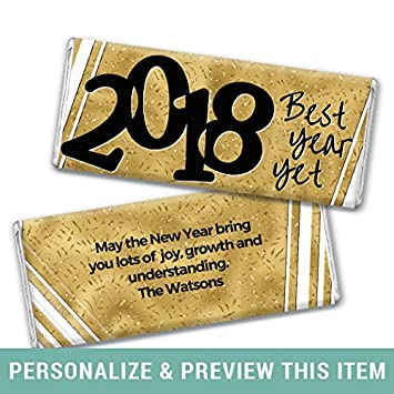 personalized new years eve gold chocolate bar wrappers only 25 wrappers