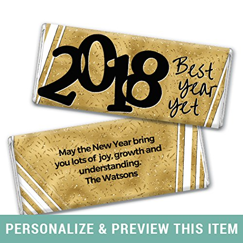 Happy New Year Candy - Personalized New Year's Eve Gold Chocolate Bar Wrappers Only (25 Wrappers)