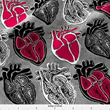 Heart Fabric Love/Hate by Pond Ripple Printed on Fleece Fabric by the Yard by Spoonflower