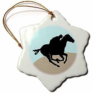 3dRose orn_25986_1 Horse Racing-Snowflake Ornament, 3-Inch, Porcelain