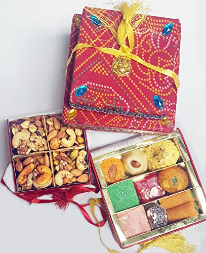 Sukhadia's Indian Sweets & Nuts Gift Pack- Fancy Bandhani Boxes- 12oz Sweets & 8oz Mixed Masala Nuts
