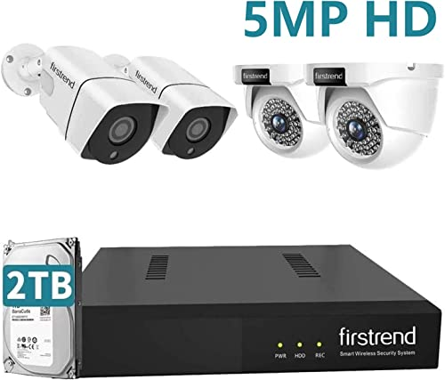 5MP Home Security Camera System with Audio,Firstrend Ultra HD POE Cameras Kit with 8CH NVR 4pcs Wired IP Cameras Indoor Outdoor 2TB Hard Drive Motion Alert Night Vistion Remote Access for House Office