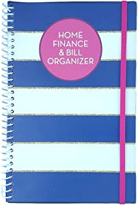 Home Finance & Bill Organizer with Pockets (Blue Stripes With Gold Trim)