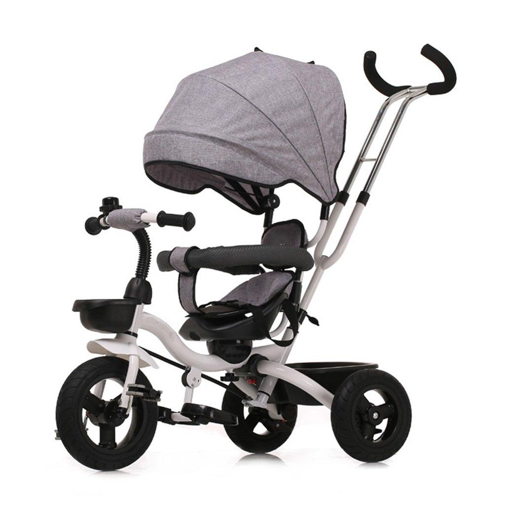 三輪車の赤ちゃんキャリッジバイク子供のおもちゃの車Foldableバイラテラルステアリング3チタン車輪保護自転車、(男の子/女の子、6ヶ月-5歳) (色 : グレー) B07DVCN3BT グレー グレー