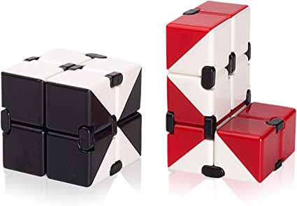 Red Cool Unique Gifts for Man Boy Girl Aluminum Infinity Cube Fidget Toys Relaxation Office Stress Reducers Desk Toy,Birthday for Kids and Adults