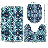 3 Piece Bathroom Mat Set,Arabian,Arabesque-Pattern-Tradicional-Islamic-Art-Geometry-Decorative-Persian-Damask-Art,Turquoise.jpg,Bath Mat,Bathroom Carpet Rug,Non-Slip