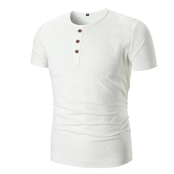 Camiseta para Hombre, Hombres Verano Casual Sólido O Cuello Pullover Manga Corta Camiseta Top Blusa