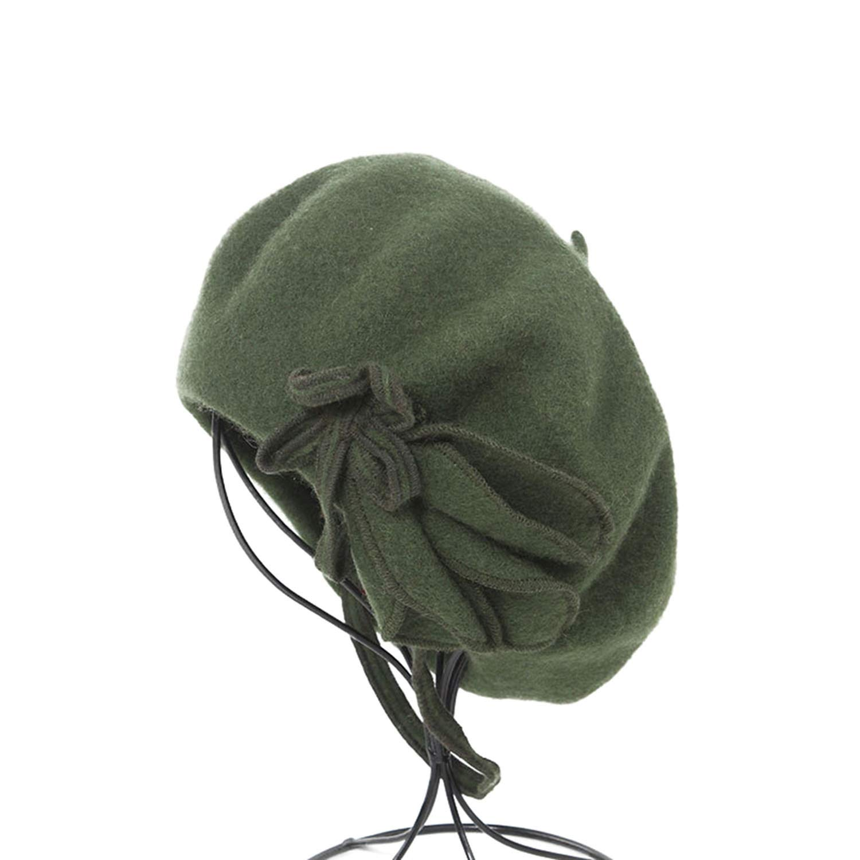 GordonKo Women Green Elegant Painters Hats Ladies Solid Bowknot Casual Female Winter Artist Cap