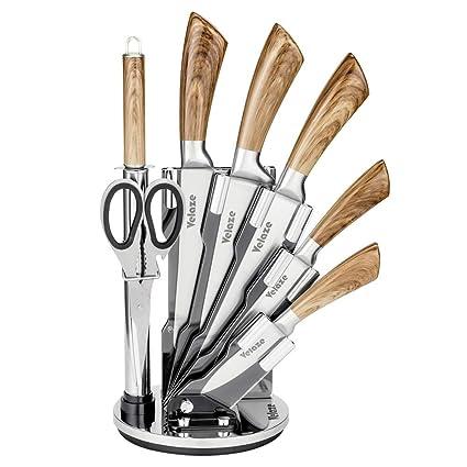 Velaze Cuchillos Cocina Profesional Juego de 8 Cuchillos de Cocina de Acero Inoxidable, Incluye Cuchillo Cocinero, Cuchillo de Carne, Cuchillo de Pan, ...