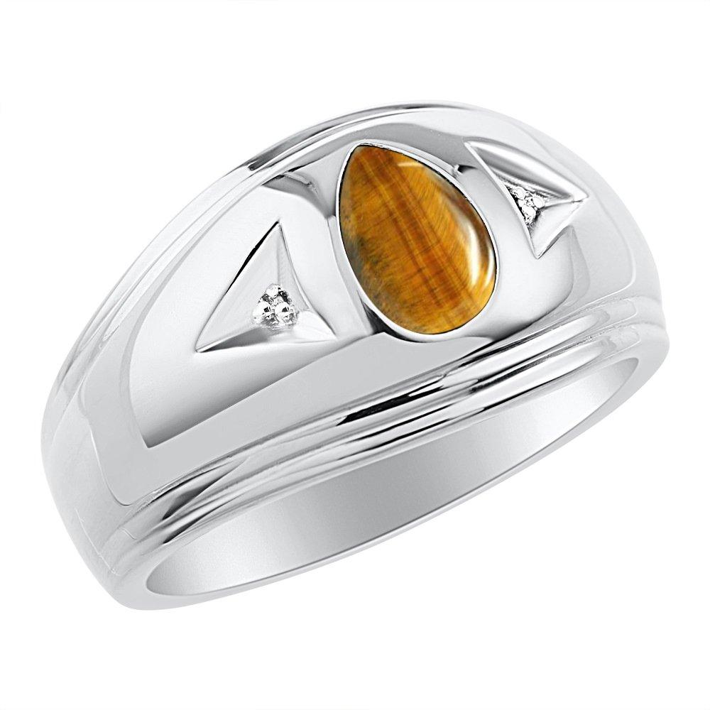 Timeless Pear Shape Tiger Eye & Natural Diamond Ring Sterling Silver .925