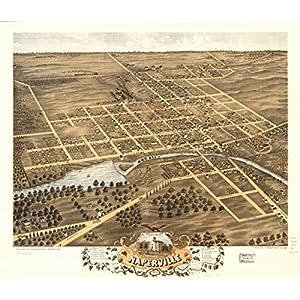 1869 Birds eye map of Naperville, DuPage Co., Illinois Birds eye view of Napervi