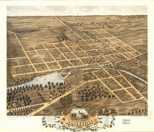 1869 Birds eye map of Naperville, DuPage Co., Illinois Birds eye view of Napervi