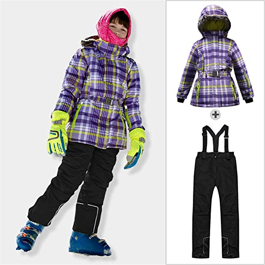 HXSKI Traje de esquí para niños, Baberos de esquí y Chaqueta de ...
