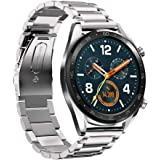 HATALKIN for Huawei Watch GT 2 Band / Samsung Galaxy Watch 3 Band 45mm Stainless Steel Adjustable Classic Replacement for Hua